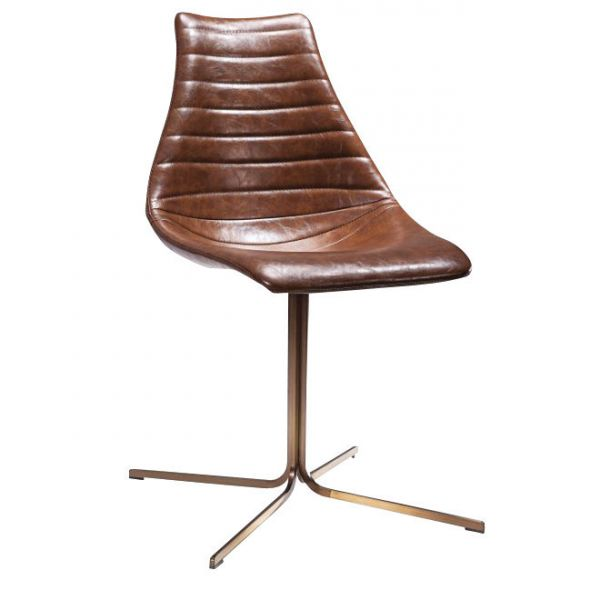 Arkan Driver Cross Frame Side Chair (Brown Faux)