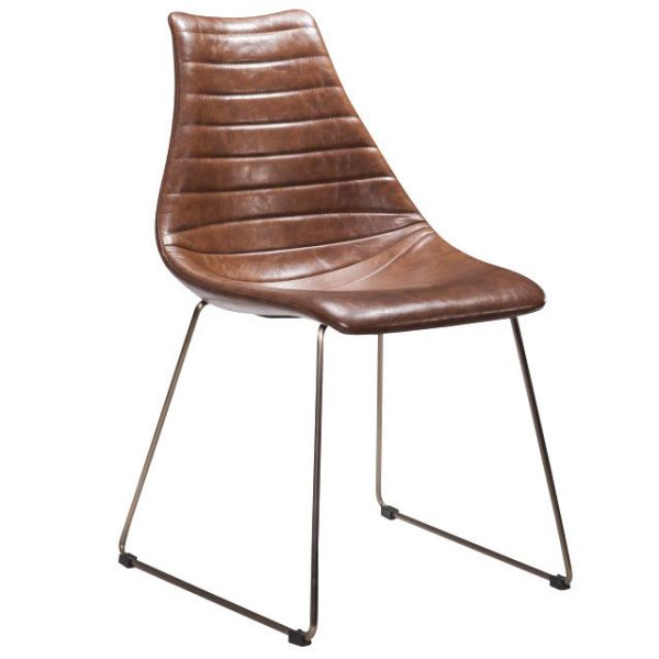 Arkan Driver Skid Frame Side Chair (Brown Faux)