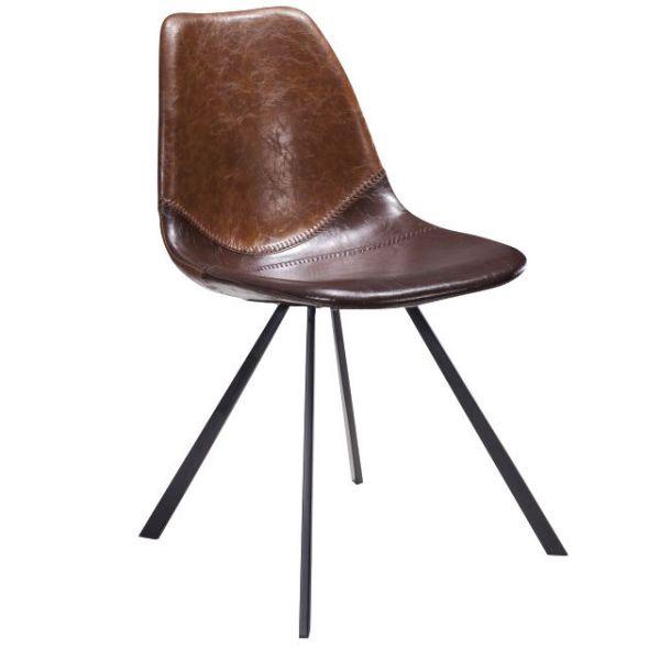 Artisan Splay Leg Side Chair (Brown Faux)