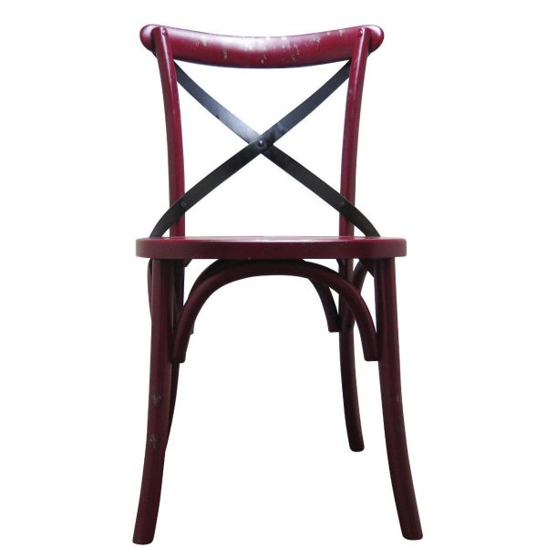 Palm Hessian Side Chair (Red/Rattan)