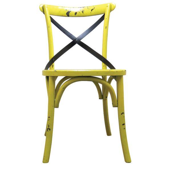Palm Hessian Side Chair (Yellow/Rattan)