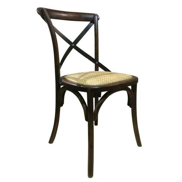 Palm Hessian Side Chair (Walnut/Rattan)