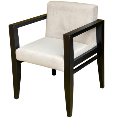 Avenue Open Arm Carver Chair (Grey Velvet / Black)