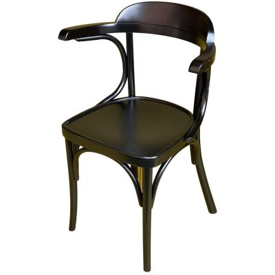 Bentwood Jerry Solid Seat Open Arm Carver Chair