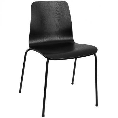 Copenhagen Four Metal Leg Side Chair (Black)
