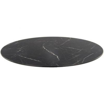Compact Laminate Round Table Top - 700mm Diameter (Black Marble)