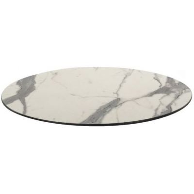 Compact Laminate Round Table Top - 700mm Diameter (White Marble)