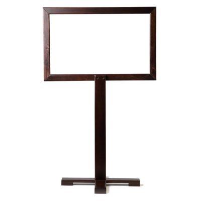 Portable Pedestal Social Screen (Walnut / Clear Screen)