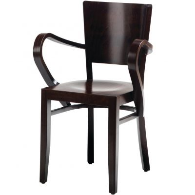 Atlantic Solid Seat Open Arm Carver Chair