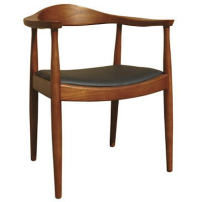 Flight UPH Seat Open Carver Chair (Black Faux / Walnut)