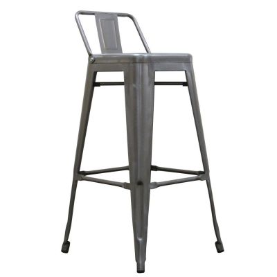 French Bistro Mid Height Stool With Back (Clear Lacquer)
