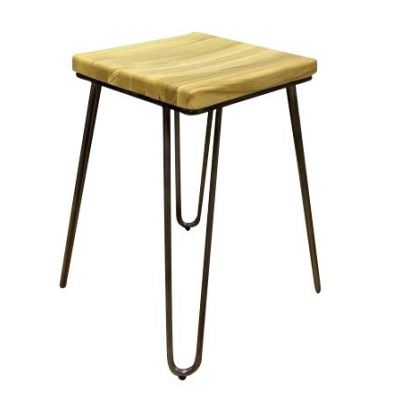 Hairpin Solid Seat Square Low Stool (Oak)