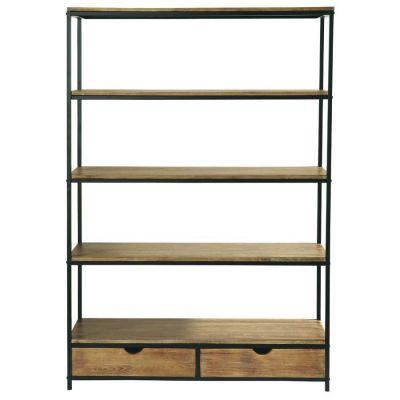 Distressed Four Shelf Two Drawer Rack
