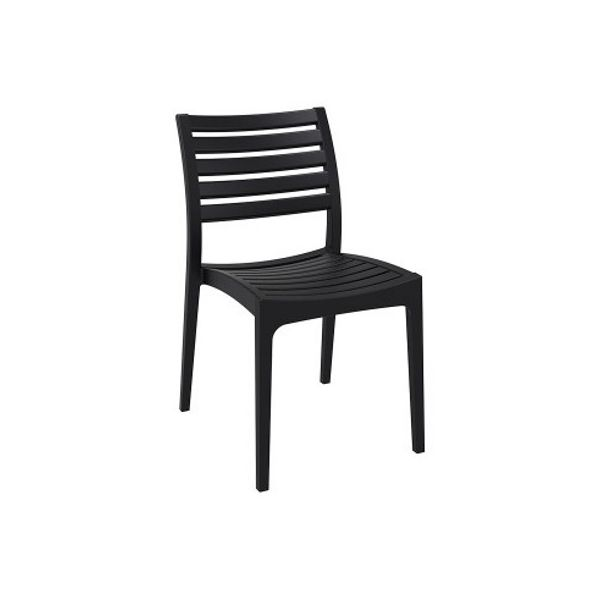 High quality indoor and outdoor plastic chair in the ares furniture range from Bellamy and Britton. Black in colour.