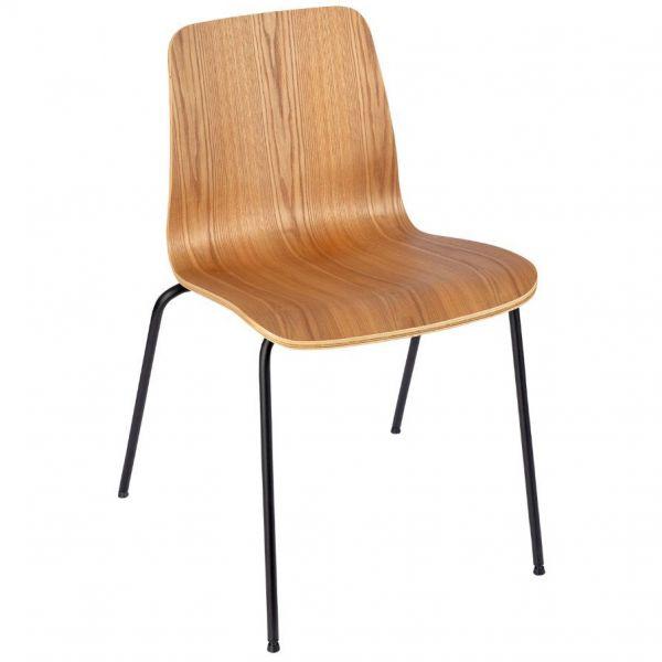Copenhagen Four Metal Leg Side Chair (Clear Lacquer)