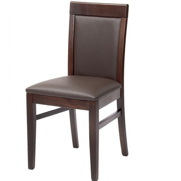 Doyle Full Back Side Chair (Brown Faux / Walnut)
