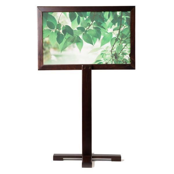 Portable Pedestal Social Screen (Walnut / Decal Screen)