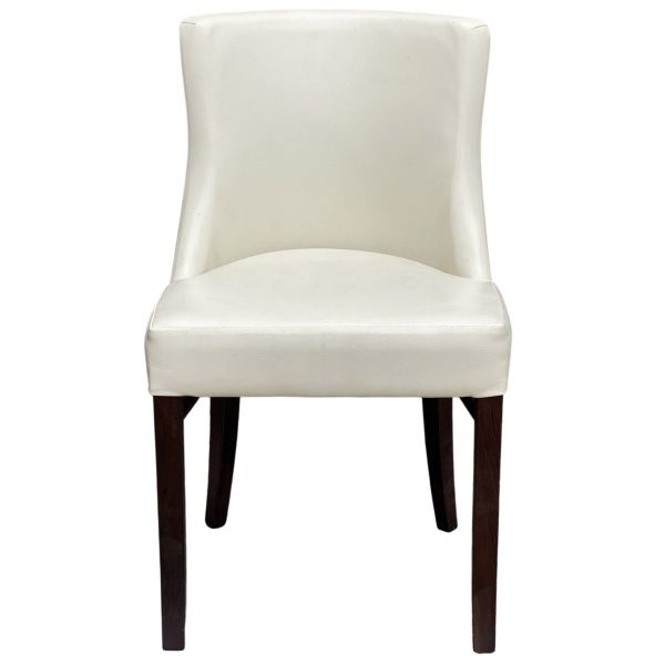 Leona Side Chair (Ivory Faux / Walnut)
