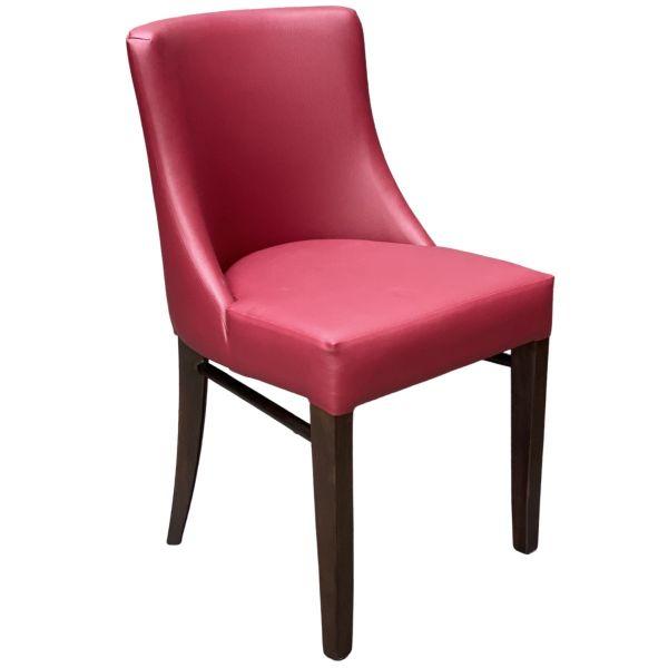 Leona Side Chair (Wine Faux / Walnut)