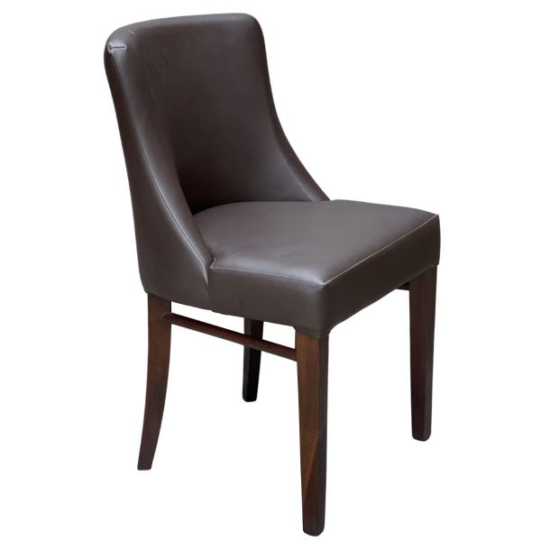 Leona Side Chair (Dark Brown Faux / Walnut)