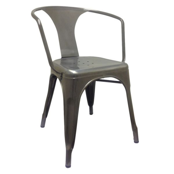 French Bistro Open Arm Carver Chair (Clear Lacquer)