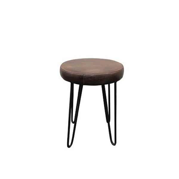 Hairpin Leather Low Stool