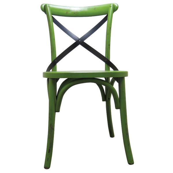 Palm Hessian Side Chair (Green/Rattan)